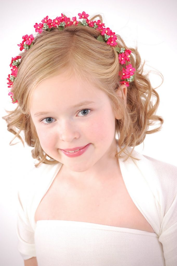 Curly asymmetrical bob cute hairstyles for little girls with short hair